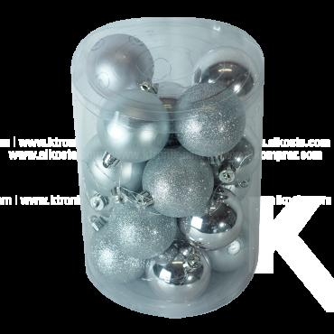 Set x 20 Esferas 6 cm Surtidas Plata