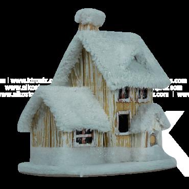 Decoración Navideña Casita Blanca 20 cm