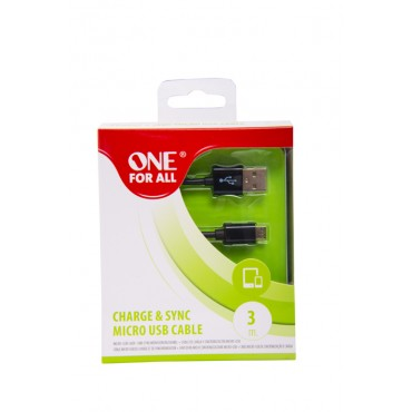 Cable ONE FOR ALL USB / Micro USB 3 Metros Negro