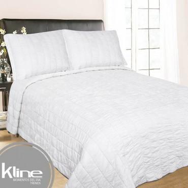 Cubrecama K-LINE Doble Blanco Cuadros Algodón