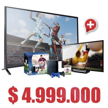 "Compra Tv 70' LED SONY  70W857INT 3D  y lleva Gratis Consola PS3 500GB + Jgo Fifa15 y Tv 32"" LED SONY 32R427B HD"