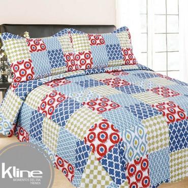 Cubrecama K-LINE Queen Cuadros Multicolor