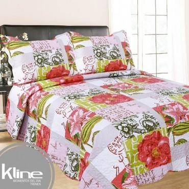 Cubrecama K-LINE King Flores Rosado