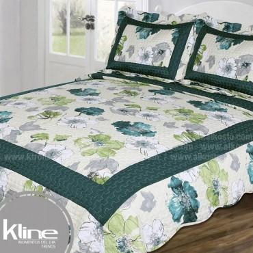Cubrecama K-LINE King Flores Verdes Microfibra 100%