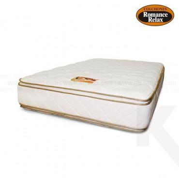 Colchón de espuma Jade extradoble 160x190x28 cms blanco sesgos en contraste café pillow x ambos lados