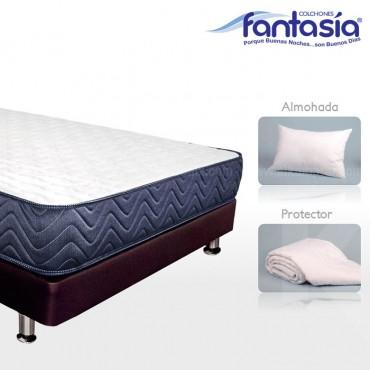 KOMBO FANTASÍA: Colchón Semidoble Blue Lexus + Base cama + Protector  + Almohadas 120x190 cms