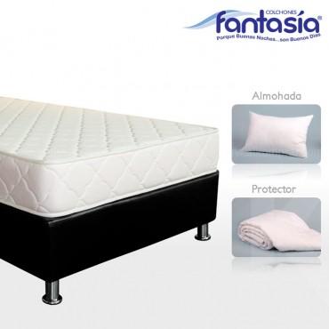 KOMBO FANTASÍA: Colchón Sencillo Litium Espumado + Base cama + Protector  + Almohadas 100x190 cms