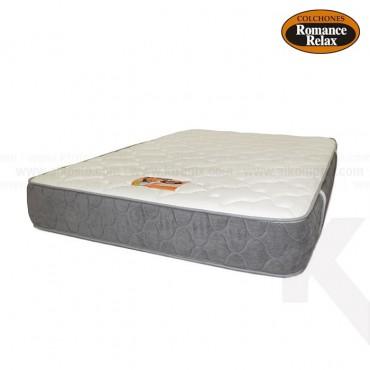 Colchon de espuma Opalo doble 140x190x25 cms blanco con banda gris en contraste