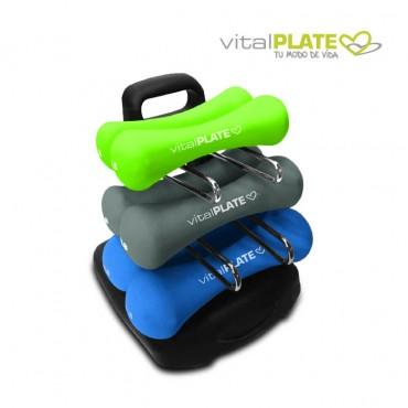 Set de pesas VITAL PLATE con soporte