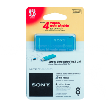 <p>Memoria USB SONY</p> <p>8 GB 3.0</p> <p>Color Azul</p>