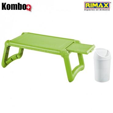 KOMBO RIMAX: Mesa Laptop Verde Limón +Papelera 1.5L