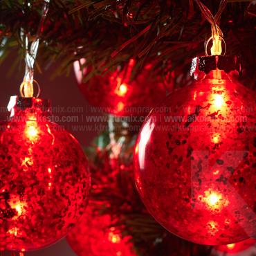 Guirnalda De Luz Con Esfera 7 cm Roja