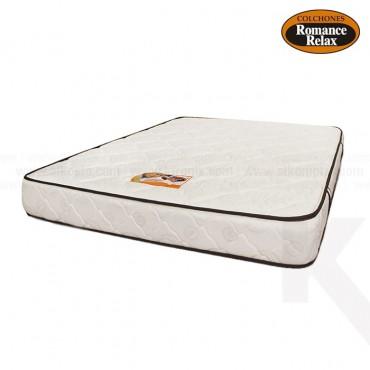 Colchon de espuma Carey sencillo 100x190X20 cms blanco con sesgos en contraste chocolate