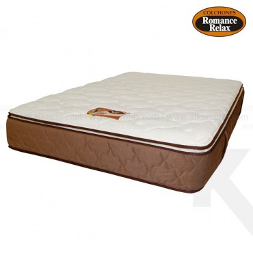 Colchon de espuma Coral doble 140x190x28 cms blanco con banda café pillow por un solo lado