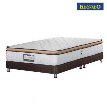 KOMBO ELDORADO: Colchón King Florence 200x200 cms Resortado + Base Cama Nova Chocolate