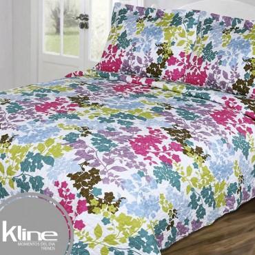 Cubrecama K-LINE Queen Flores Multicolor