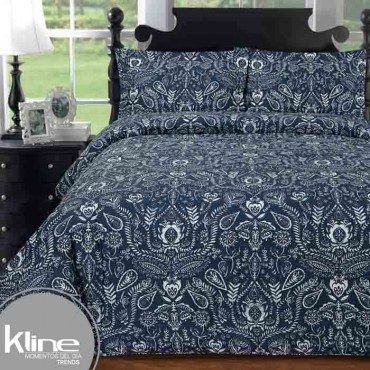 Edredón K-LINE King Helechos Azules 144 Hilos Algodón 100%