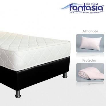 KOMBO FANTASÍA: Colchón Sencillo Litium Resortado  + Base cama + Protector  + Almohada 100x190 cms