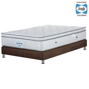 KOMBO SEALY: Colchón Extradoble Supreme Firm 160x190x32 cm + Base cama Duken Marrón