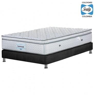 KOMBO SEALY: Colchón Sencillo Supreme Firm 100x190x32 cm + Base cama Duken Negra