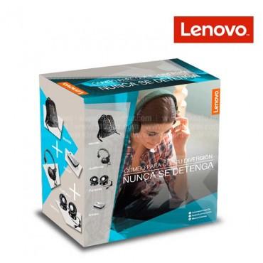 Combo LENOVO Morral + Mouse + Audífonos On Ear + Parlante