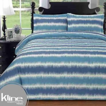 Edredón K-LINE Sencillo Líneas Azules 144 Hilos Algodón 100%