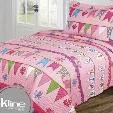 Cubrecama K-LINE Semidoble Sweet Dreams Rosado