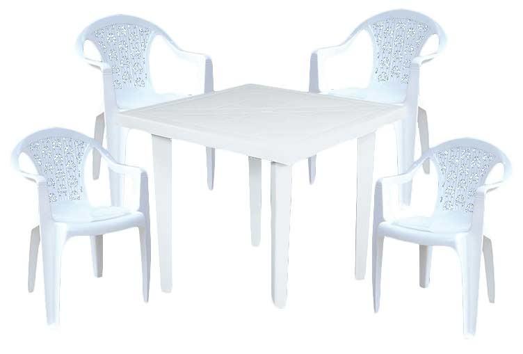 Kombo vanyplas mesa cuadrada 75cm 4 sillas - Sillas de plastico para terraza ...