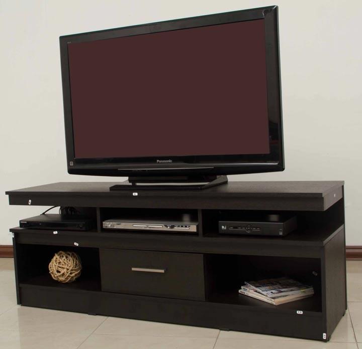 Mesa tv caj n maderkit wengue for Mesas para tv modernas