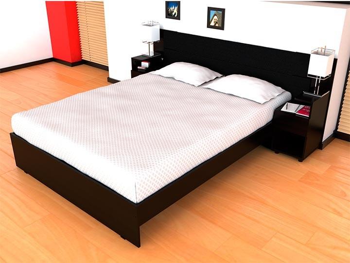 cama doble maderkit mesas de noche incluidas